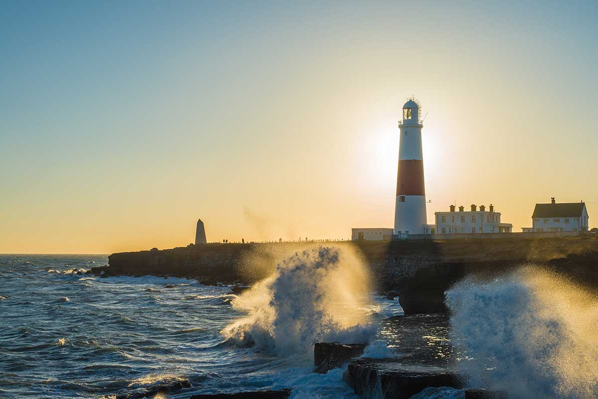 Backlit Waves At Portland Bill
