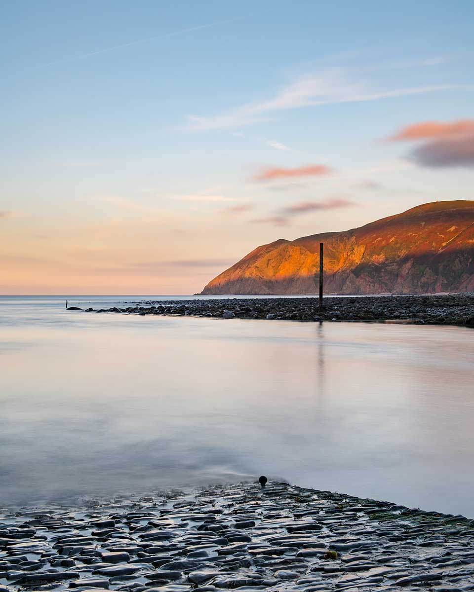 Last Light At Lynmouth Harbour Slipway
