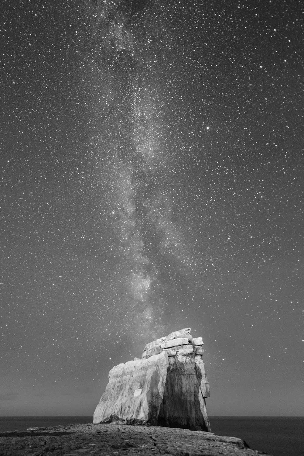 Pulpit Rock Milky Way Black And White