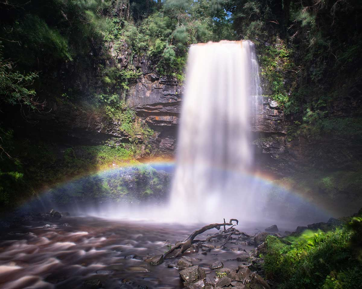 Sgwd Henrhyd Rainbow - Brecon Beacons photography by Stephen Banks