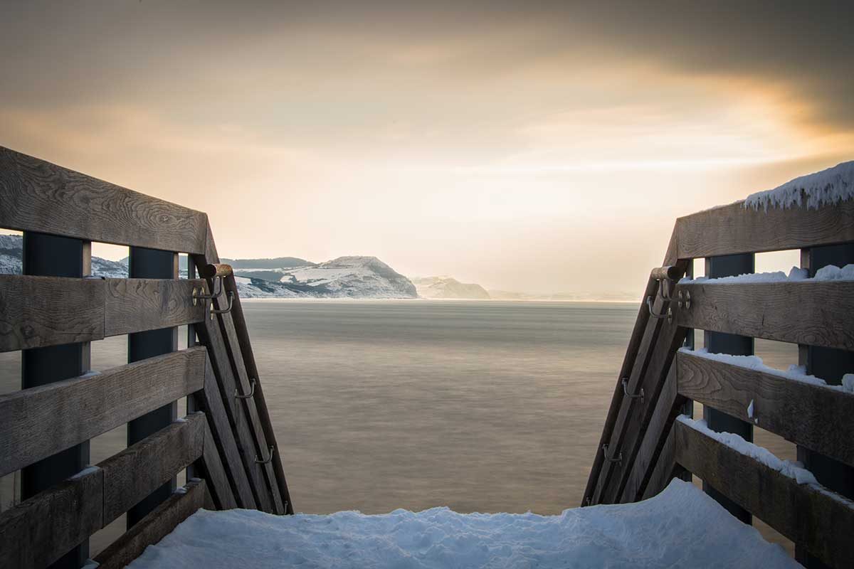 Snowy Steps To The Dorset Coast