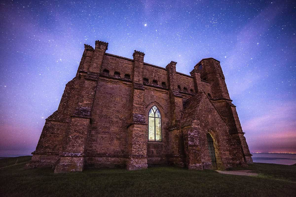 St Catherine's Chapel by Night - Dorset landscape astrophtography by Stephen Banks