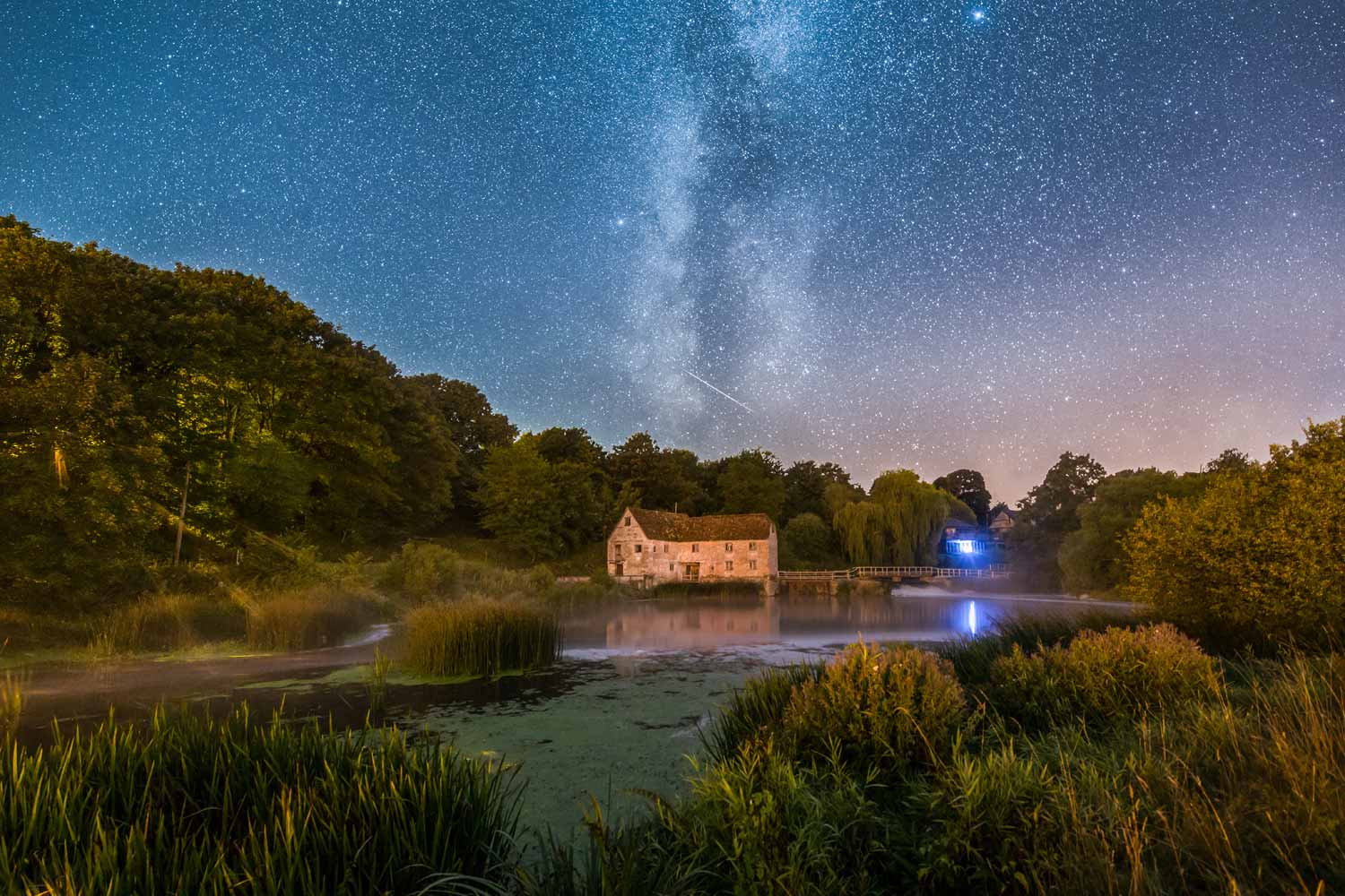 Perseid And Milky Way Above Sturminster Newton Mill