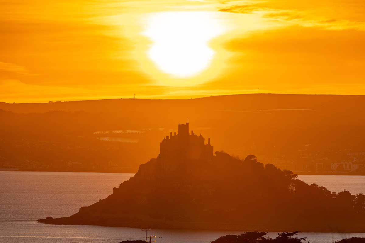 Sun Sets Behind St Michael's Mount