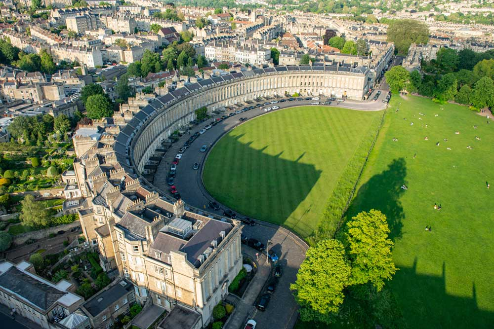 Bath Royal Crescent Aerial - sky photography by Stephen Banks